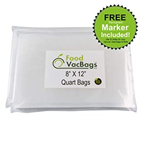 Foodsaver compatible FoodVacBags 100 Quart Size 8x12-inch Vacuum Sealer Storage Bags, BPA Free, Commercial Grade, Heavy Duty, Sous Vide