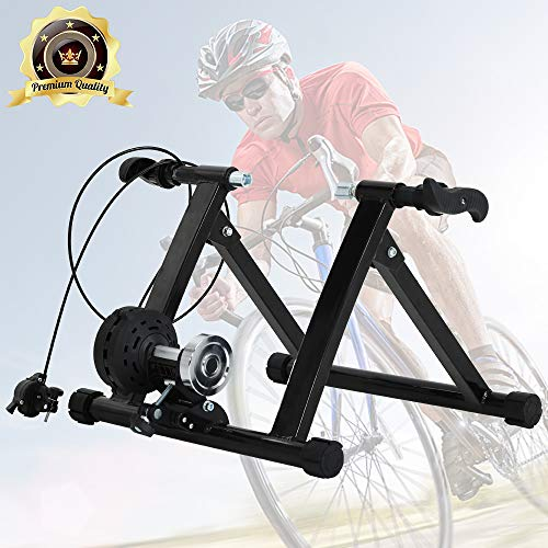 (Bike Trainer Stand, Portable Magnetic Stationary Road Bicycle Indoor Trainer with Noise Reduction Wheel 5 Levels Resistance Steel Cycling Mountain Bike Exercise Stand for Indoor Riding Supports 300LBS)