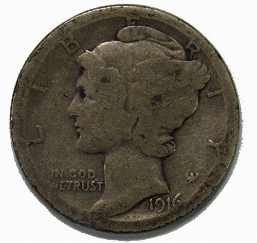 1916 S Silver Mercury Dime 10c Average (1916 D Mercury Dime)
