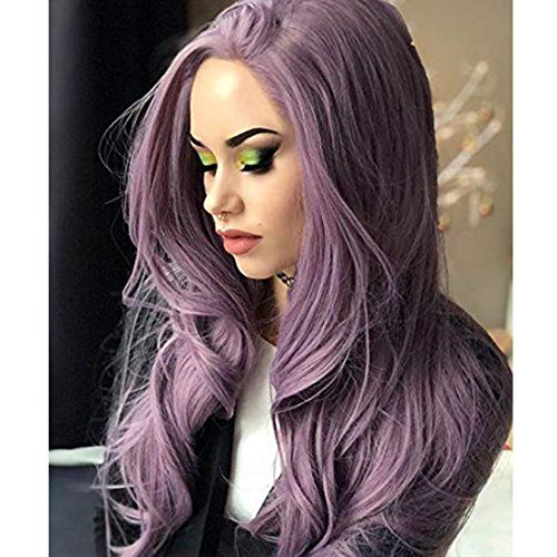 Yviann Purple Lace Front Wigs Long Slight Wave Synthetic Hair Wigs for Black Women Cosplay Custume Part Wigs -