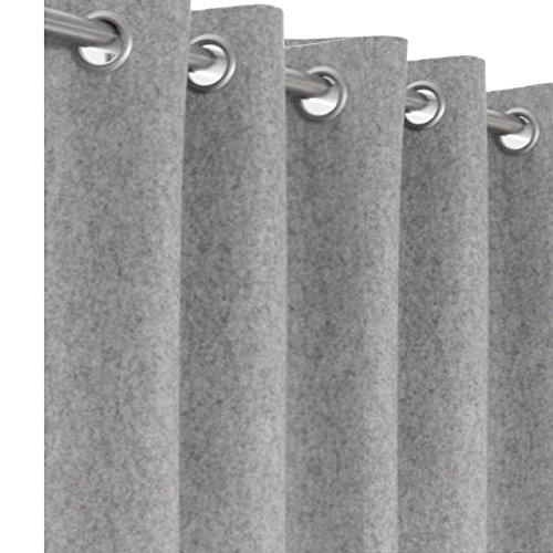 Wool Felt Curtains, Light Gray Felt Curtain Panel, Custom Window Curtain, Customized Door Curtain, Eyelet Curtain Grommet