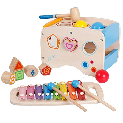 Lewo Wooden Toddlers Musical Toys Pound Tap Bench Xylophone Shapes Sorter Early Educational Games for Kids by Lewo