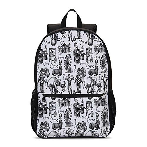 Modern Decor Durable Backpack,Circus Quote and Themed Continous Pattern with Magician Baloons Artwork for School Travel,12.2