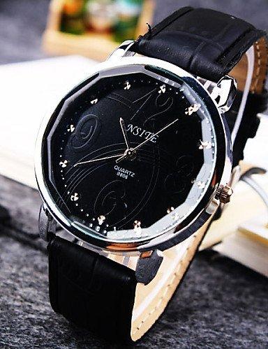 DUI lijun 2016 Hombre Business personalidad Trend redonda Diamond Dial Movimiento PC Correa de cuero de moda reloj de cuarzo (colores surtidos), ...