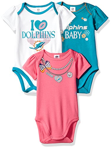 Dolphin Babies - Gerber Childrenswear NFL Miami Dolphins Girls Short Sleeve Bodysuit (3 Pack), 3-6 Months, Pink