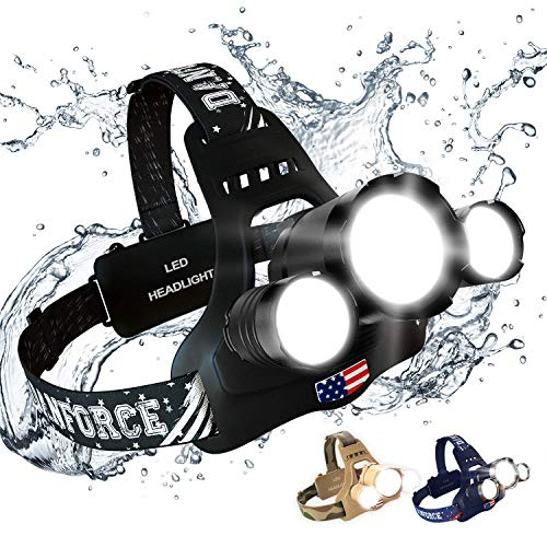 DanForce Headlamp. USB Rechargeable LED Head Lamp. Ultra Bright CREE 1080 Lumen Headlamp Flashlight + Red Light. HeadLamps for Adults, Camping, Outdoors & Hard Hat Light. Zoomable IPX45 Headlight