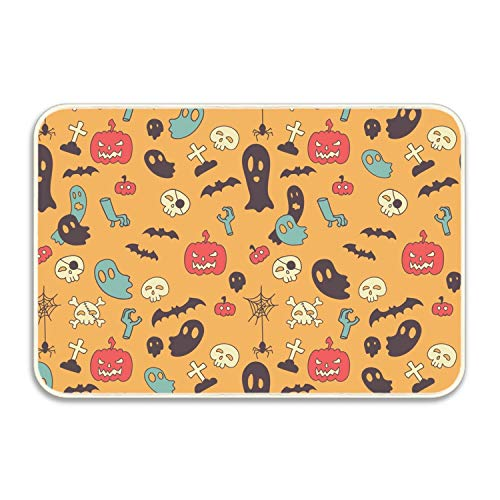 Ranhkdn Front Door Decor Mat Halloween Ghost Bats