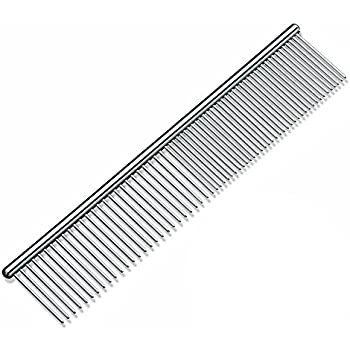 My Pet Comb Stainless Steel Grooming Comb with Different-Spaced Rounded Hypoallergenic Teeth, Easy Grip and Convenient Grooming for Pets Cats Dogs with Medium Coarse Fur