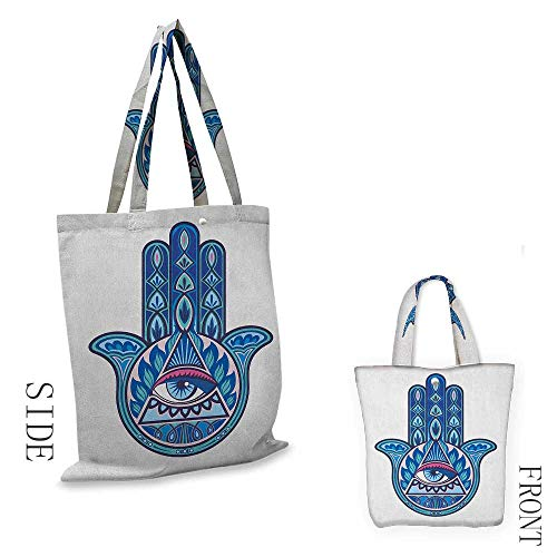 Evil Eye,canvas shopping bag,Vibrant Design Hamsa Hand with Evil Eye in Triangle Esoteric East Cure,shopping bags,W14