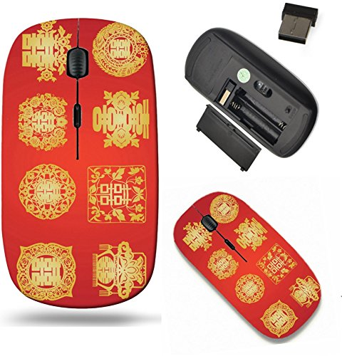 Liili Wireless Mouse Travel 2.4G Wireless Mice with USB Receiver, Click with 1000 DPI for notebook, pc, laptop, computer, mac book oriental double happiness Photo 4546008