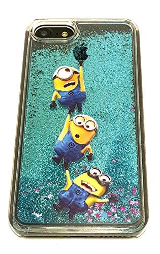 Minions Disney (iPhone 7 Cute Minion 3D Liquid Glitter Case, Cartoon Liquid Quicksand Floating Bling Glitter Sparkle Creative Design Case Cover For Apple iPhone 7 (4.7