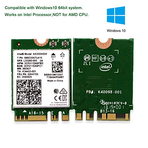 WiFi 6 AX200 WiFi Adapter for Windows 10 64bit Chrome OS and Linux Laptop or Desktop PCs-802.11AX 2.4GHz 574Mbps or 5GHz 2.4Gbps(160MHz) with Bluetooth 5.1-Intel WiFi 6 AX200 NGW