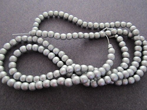 Silver Silk Metallic Round Wood Beads for Jewelry Making, Supply for DIY Beading Projects 8mm 16