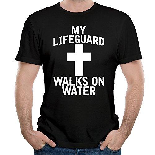 Men's My Lifeguard Walks On Water Cotton Premium Short Sleeve (Suet Case)
