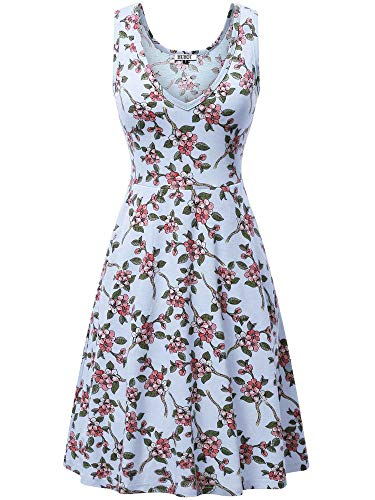 HUHOT Summer Dresses, Sleeveless Sundress Floral V Neck Slim Fit Flowy Dress(Floral2,Large) - Jersey Deep V-neck Dress