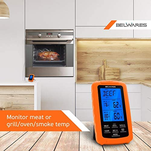 Belwares Digital Remote Smoker Dual Probe Wireless Meat Oven BBQ Thermometer