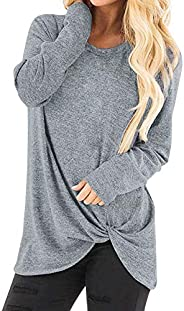 Women T Shirts Blouse Tops,UOKNICE Autumn Winter Women's Causal V-Neck Long Sleeve Side Twist Knotte Tunic