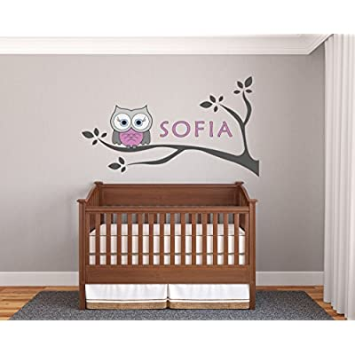 Personalized Name Owl And Branches - Prime Series - Baby Girl - Nursery Wall Decal For Baby Room Decorations - Mural Wall Decal Sticker For Home Children's Bedroom(02J) (Wide 34