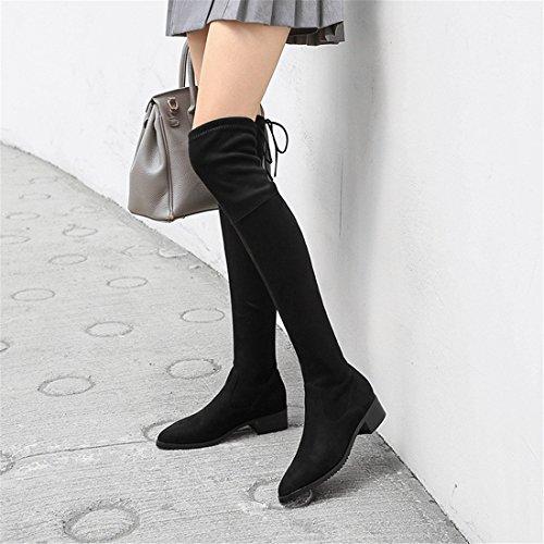 Americanas y Sandalette de de de Europeas Rodillas black DEDE y Gamuza Puntiagudas Botas Botas Moda Mujer Botas w4nRYX4