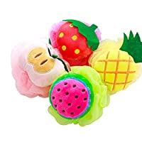 Bath Shower Sponge Loofahs Mesh 4 Packs Pouf Bath Shower Ball Cartoon Fruit Shape Exfoliating Mesh Brush Sponge Cute Bath Flower With Hooks For Kids Children,Exfoliate, Cleanse, Soothe Skin