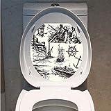 Toilet Sticker 3D Print Design,Nautical Decor,Fisherman Captain Seaman Sailboat Old Historic Sketch Monochromic Artwork,for Young Mens,W12.6