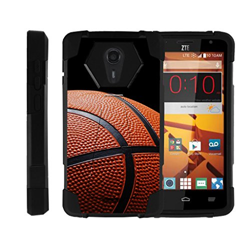 ZTE Uhura Case | ZTE Ultra Case | ZTE Quest Case | N817 [Dynamic Shell] Dual Hard Hybrid Cover Resistant Kickstand Silicone Case Sports and Games Design by TurtleArmor - Basketball Seams - Basketball Case Pack