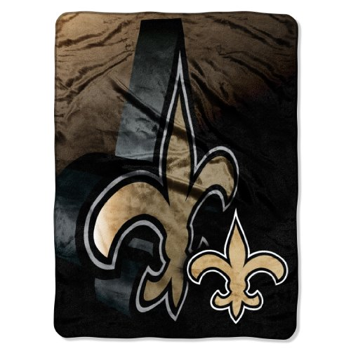 Officially Licensed NFL New Orleans Saints Bevel Micro Raschel Throw Blanket, 60