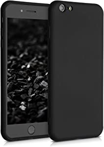 kwmobile Case Compatible with Apple iPhone 6 Plus / 6S Plus - Case Soft Rubberized TPU Slim Protective Phone Cover - Black Matte