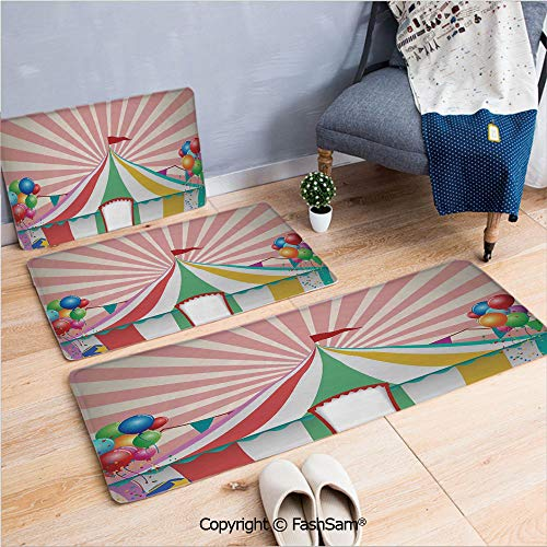 - 3 Piece Flannel Bath Carpet Non Slip Old Style Vintage Circus Tent with Baloons Carnival Celebration Performance Animals Artwork Front Door Mats Rugs for Home(W15.7xL23.6 by W19.6xL31.5 by W35.4xL62.9