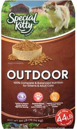 Special Kitty 44 Lbs Outdoor Dry Cat Food for Energetic Active Adult Cats Support Healthy Bones Teeth Vitamins for Eye Health Wholesome Ingredients Nutritious Premium Product to Crave