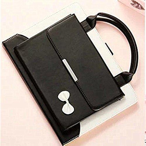 MIYA LTD 9.7'' iPad Pro Sleeve, iPad Wallet Fashion Double Space Handbag Case File Folio Stand Pocket PU Leather Hangbag Protective case for iPad Pro 9.7-black by MIYA LTD