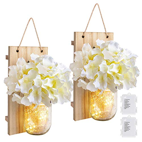 - 8 Modes Mason Jar Sconces LED - Fairy Lights,Vintage Wrought Iron Hooks, Silk Hydrangea Flower LED Strip Lights Design Home Kitchen Decoration Set of 2