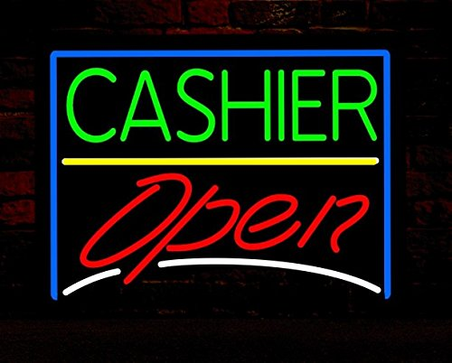 Cashier open handcrafted glass tube neon sign metal frame 24w cashier open handcrafted glass tube neon sign metal frame 24winsx20h aloadofball Image collections