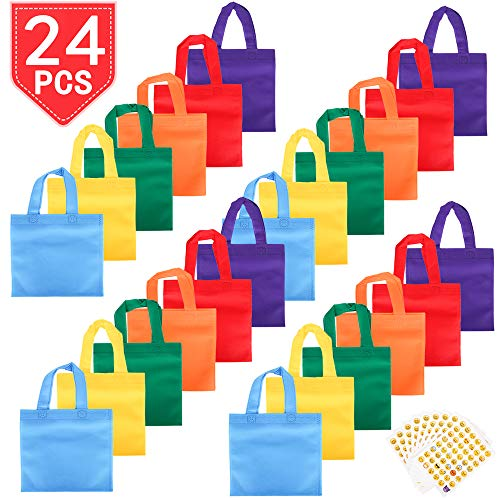 PROLOSO 24 Pack Non-Woven Gift Bags With Handles Colorful Goodie Bags Party Tote Bags Sacks Party Favors With Assorted Colors