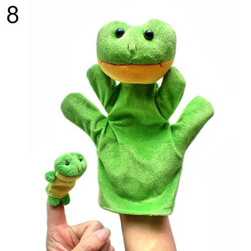 2Pcs Lovely Kids Baby Plush Toys Finger Puppet Talking Props Animals Hand Puppets 6X96^Green.