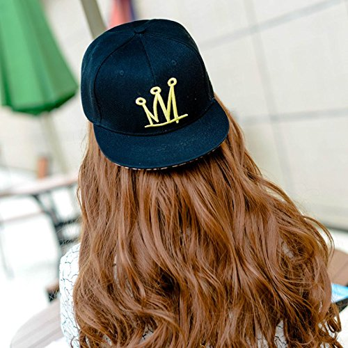 Hatrita-J Hat Hip Hop Hip Hop Baseball Cap Casual Sunshade Sun Hat Men'S Flat Brim Brim Cap Skateboard Hat Tide Adjustable Crown Black
