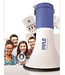 Pyle Megaphone Speaker [Audio PA Sound System] Built-in Rechargeable Battery | Siren Alert Mode | Save & Replay Mode | Aux (3.5mm) Input | 50 Watt (PMP59IR)