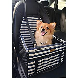 FANCYDELI Puppy Car Seat Upgrade Deluxe Portable Pet Dog Booster Car Seat with Clip-On Safety Leash and Double-Side Mat,Perfect for Small Pets Blue-White 26