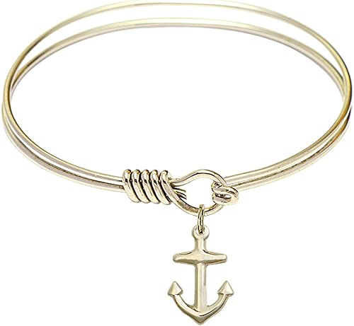 F A Dumont 6 1//4 inch Round Eye Hook Bangle Bracelet with a Cross Charm.