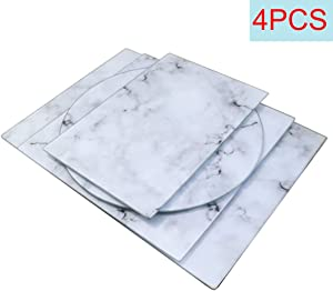 U HOME Glass Cutting Board Set of 4, Shape Variety Decorative Marble Cutting Board with Tempered Glass, for Kitchen