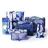 New Wanpi monkey 6 sets travel luggage organizer,packing cubes, include 3 cubes + 3 pouches (Geometric)