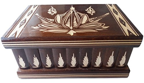 New big, huge box brown wooden treasure puzzle box with secret compartment insede , magic wizard box, jewelry box,case,handcarved storage box, trinket box,gift for women - men