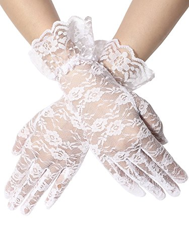 Glove Sheer Girls - SATINIOR Ladies Lace Gloves Elegant Short Gloves Courtesy Summer Gloves for Wedding Dinner Parties (White 2)