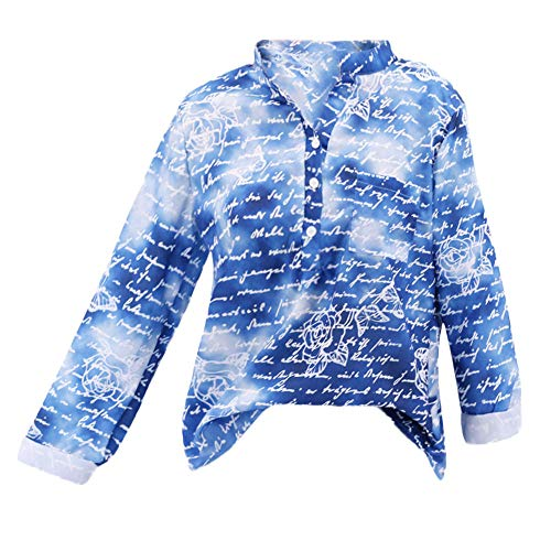 Clearance! HOSOME Women Pullover Blouse Plus Size Floral Print Button Long Sleeve Shirt Tops ()
