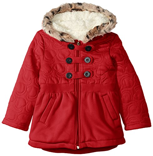LiMiTeD Too Little Girls' Too Heart Quilt Military Fleece JKT, Red, 4