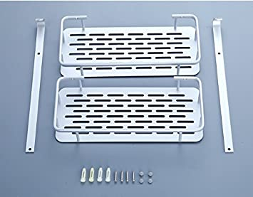 Chrasy Estantería de Baño - Doble Capa Espacio de Almacenamiento Aluminio Soporte de Estante, Rack de Pared con 2 Ganchos para Jabón Champú Limpiador Facial ...