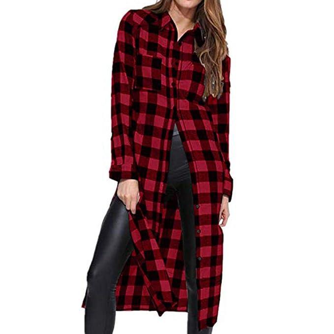 838118eb3b8a Longra Damen Karierte Bluse Hemd Langarmshirt Kariertes Hemd Karohemd  Hemdkleid Blusenkleid Oversize Cardigan Top Shirtkleid Karo Kleid   Amazon.de  ...