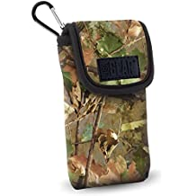 USA GEAR Portable Pocket Radio Case for C. Crane CC Pocket , Sangean DT-400W /DT-180 , Philips AE1500 , Kaito KA200 , Sony ICF-S10MK2 and More - with Carabiner Carrying Clip , Belt Loop - Camo Woods