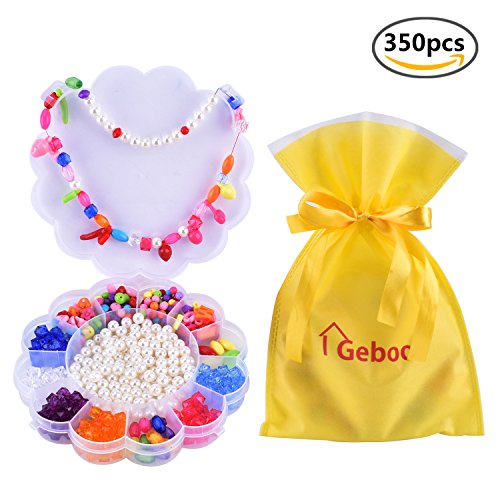 Geboor Beads for Jewelry Making Kit Girls DIY Beads Sets ,Acrylic DIY Beads for Necklace Bracelet Craft Arts and Crafts Friendship Bracelets 350 Pieces