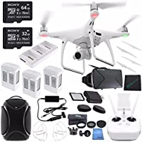 DJI Phantom 4 Quadcopter + DJI Multi-Function Backpack for Phantom + Sony 32GB microSDHC Card + Sony 64GB microSDXC Card + Card Reader + Cloth + DJI Battery Charging Hub + DJI Car Charger Bundle
